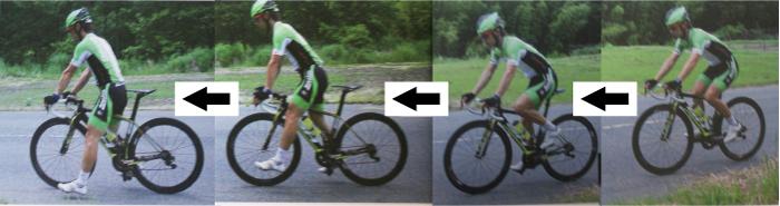 ロードバイクの降り方、止まり方。走っている状態から停車するまでの参考画像。