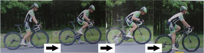 ロードバイクの乗り方。止まった状態から発車する参考画像。