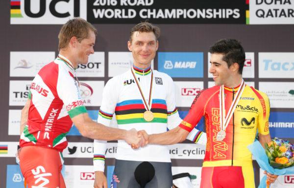 2016UCI世界選手権男子タイムトライアル エリートで優勝したトニー・マルティン、2位ヴァシル・キリエンカ、3位ホナタン・カストロビエホ