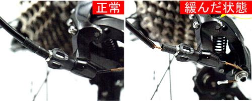 リヤディレイラーを調整する前にケーブルが緩んでいないかをチェック