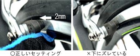 シューの位置はリムから2mm下の参考図
