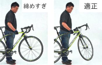 ハンドルが軽く切れるか最終チェック。ロードバイクのヘッドパーツ調整方法