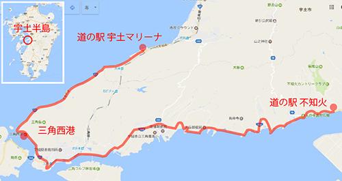 熊本県のサイクリングコース 宇土半島一周の地図