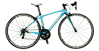 親しみやすいシンプルなカラーリングのロードバイク