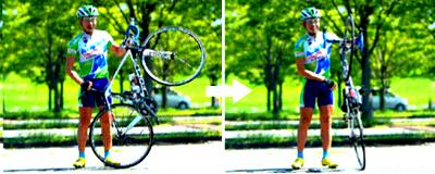 ロードバイクを立てて方向転換 良い例
