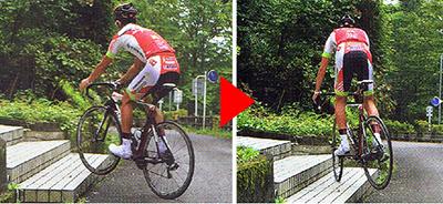 ロードバイクで階段を上る 前輪と後輪を浮かして上る図