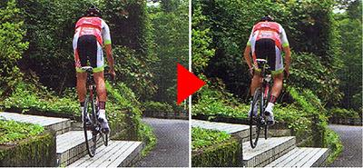 ロードバイクで階段を上る ホッピングと同じ要領で横に飛ぶ