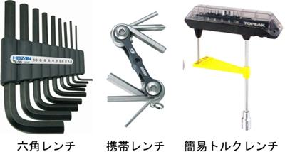 ロードバイクのポジション調整、パーツの取り付けや取り外しに必要な工具 六角レンチ/トルクレンチ/携帯レンチ