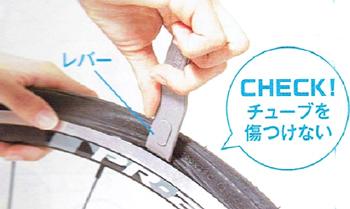 タイヤのビードをリムに入れる。タイヤに新しい予備チューブを入れる方法。