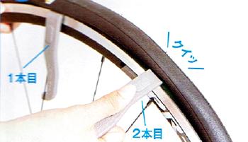 タイヤレザーをリムとタイヤの間に差し込む。リムナットを外してバルブコアを緩める。 パンクしたチューブの取り出し方。