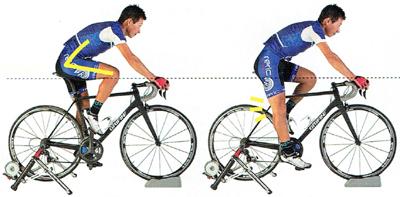 ロードバイクでサドルが高すぎる場合は膝が痛みます