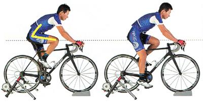 ロードバイクのサドルの高さが適正な状態