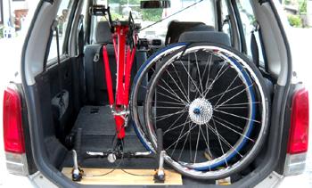 ロードバイク・クロスバイクの前後ホイールを外して、さかさまに立てる車載方法
