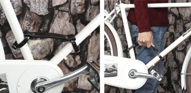 自転車の持ち運びに便利なフレームハンドル