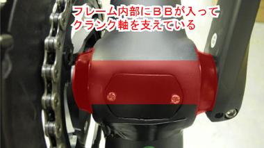 ロードバイクのBBはクランク軸を支えている