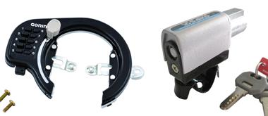 ママチャリ用のカギ 自転車固定式ロック(左)とシリンダー前輪錠(右)