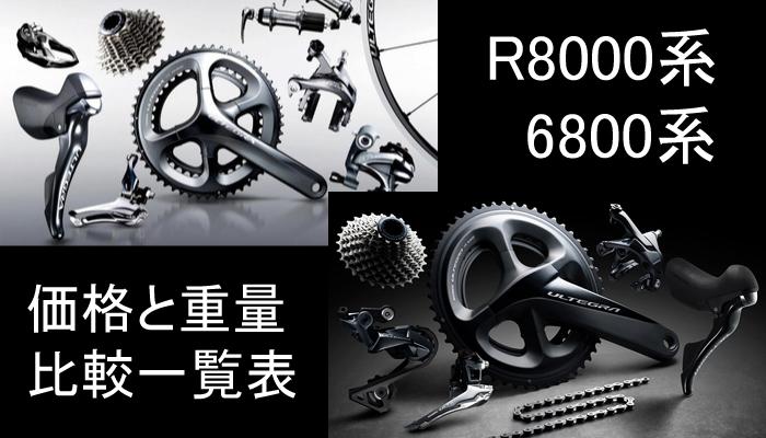 シマノ 新型アルテグラR8000系と旧型6800系!重量と価格 比較一覧表