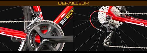 シャア専用ロードバイク カーボンフレームののクランクセットとディレイラー