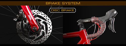 シャア専用ロードバイクのカーボンフレームはディスクブレーキを搭載