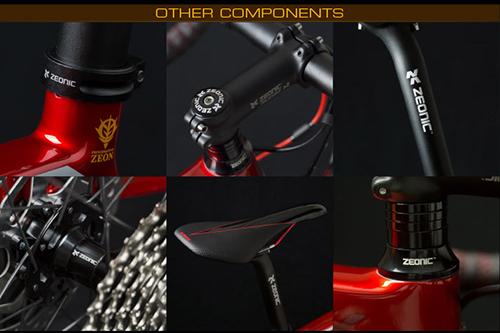 シャア専用ロードバイクの各所に配されたジオニックのロゴとサドル