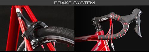 シャア専用ロードバイクのブレーキキャリパーとハンドル周り