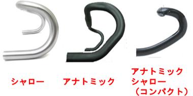 ドロップハンドルの形状「シャロー」「アナトミック」「アナトミックシャロー(コンパクト)」