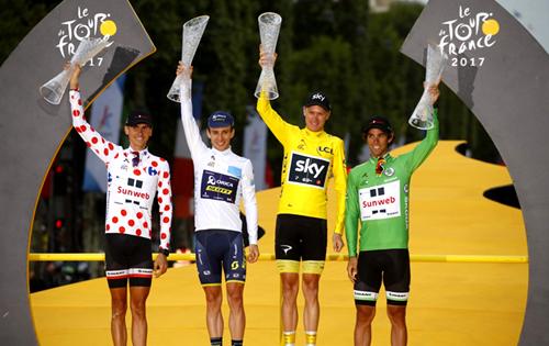 2017年ツール・ド・フランス 総合優勝:クリスフルーム 山岳賞:ワレン・バルギル ポイント賞:マイケル・マシューズ 新人賞:サイモン・イエーツ