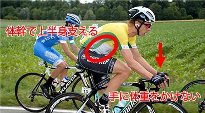 ロードバイクで手のしびれや痛みを解消する方法 体幹で上半身支えて手に体重をかけない