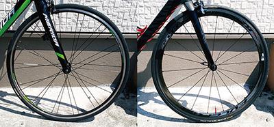 エントリーロードバイクと高級ロードバイクのホイール&タイヤの比較画像