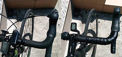 エントリーロードバイクと高級ロードバイクのハンドル回り比較図