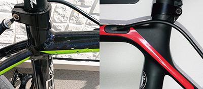 ロードバイクのアルミフレームとカーボンフレーム比較図
