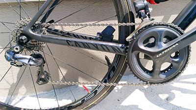 カーボン製ロードバイクの変速機