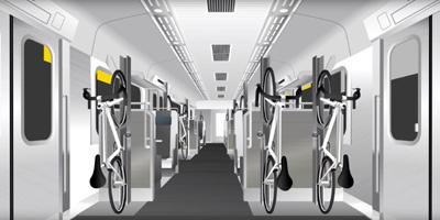 スポーツ自転車と一緒に乗れる特殊電車B.B.BASEの自転車積載方法